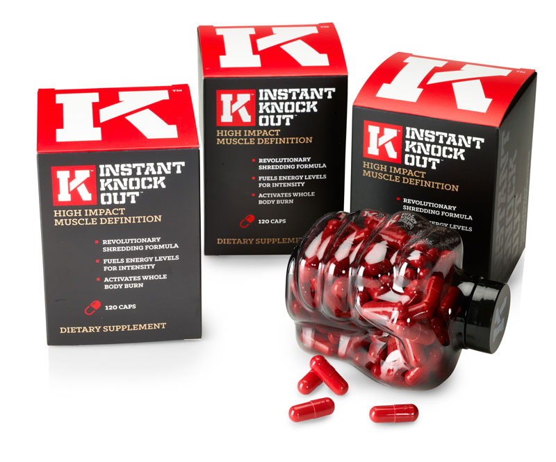 A bottle and three boxes of Instant Knockout fat burning supplement